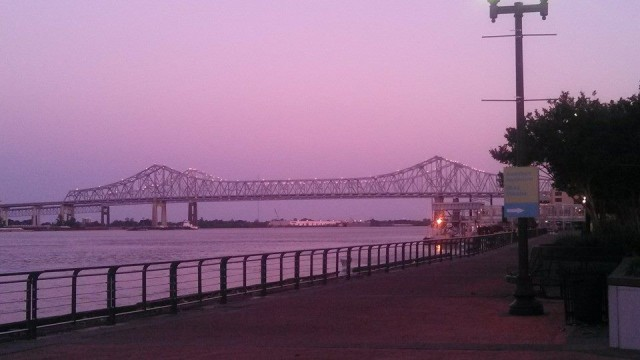 The mighty Mississippi at sunset.